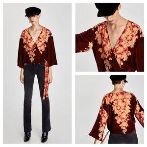 Zara kimono wrap blouse floral top velvet trims